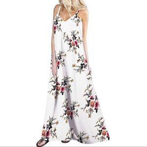 Floral Print Boho Spaghetti Strap Harem Maxi Dress